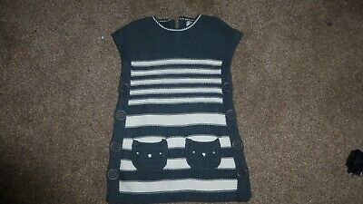 NEXT GIRLS 4-5 YEARS GREY CHUNKY KNITTED CAT TABARD DRESS WITH POCKETS 110 cm