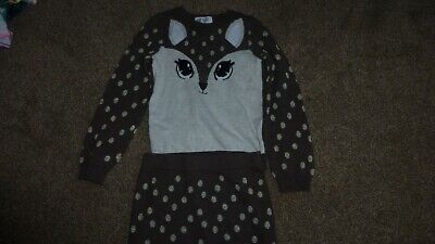 H&M Girls 4-6 Years Brown & Gold Glittery Spots Fox Jumper With Matching Skirt