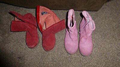 Next Girls Suede 2 Pairs Of Red & Pink Ankle Boots Size  Uk 12 / 30.5 Eur