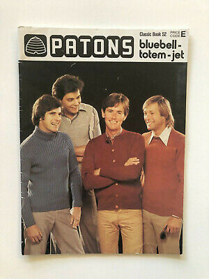 Patons Classic Book 52 Mens Sweaters Cardigans Vintage Knit Patterns 1970s