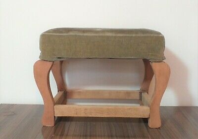Vintage Solid Beech Wood Occasional Stool - Padded Upholstered Seat Footstool