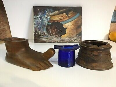 Antique Carved Wood Ashtray Vintage Foot Glass Hat Advertising Lot Rare Humidor
