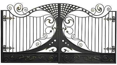 DRIVEWAY WROUGHT IRON GATES GOLD SWIRLS HANDCRAFTED Design ENTRANCE GATE 14 FT