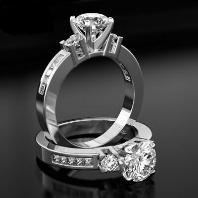 Round 1.7 Ct Vvs2 W Accents Certified Diamond 18K White Promise Ring Sz 5.5 - 9