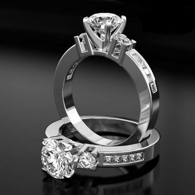 Real 1.6 Ct Vs2 Round Cut W Accents Diamond 18K White Gold Promise Ring Sz 5.5 6