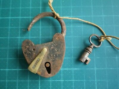 Padlock with Key Vallet Antique Metal and Brass Locksmith 19th #S Old Lock