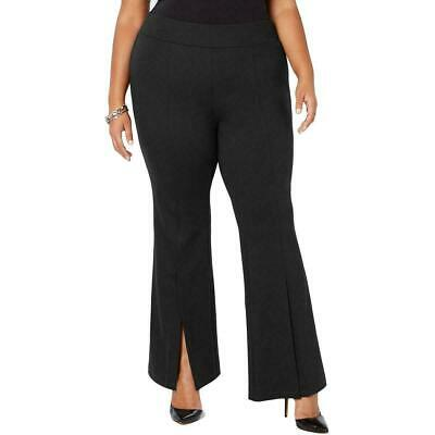 INC Womens Pants Black Size 22W Plus Split Front Flare Pull On Stretch $89 154