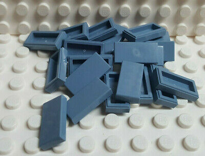 LEGO Sand Blue Tile 1x2 Lot of 100 Parts Pieces 3069b
