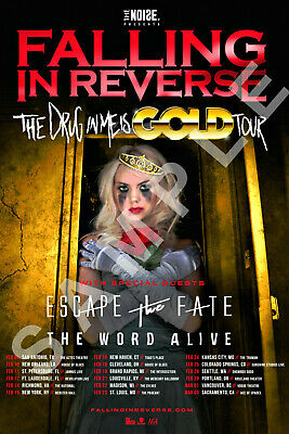 FALLING IN REVERSE 12x18 THE DRUG IN ME IS GOLD TOUR POSTER RONNIE RADKE BAND 8