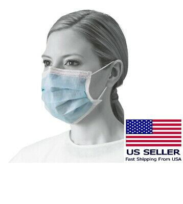 50 Pcs Blue Sterile Disposable Earloop Surgical Face Mask For Medical Dental Use