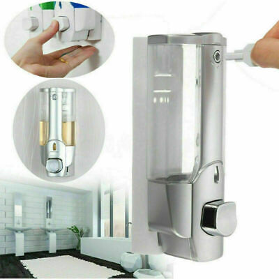 Wall Mounted Liquid Soap Dispenser Bathroom Hand Sanitizer Shower Gel Shampoo UK