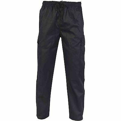 5x DNC Black Chefs Cargo Trousers Pants Unisex Drawstring 5 pockets, L Large