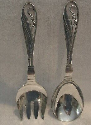 Georg Jensen Sterling Silver Pattern 42 two-piece large salad set Blossom Bead