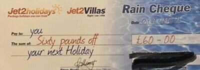 Jet2 Holidays Rain Cheque £60 Off Valid For Bookings Made Before 29/02/20