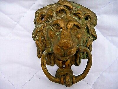 Vintage Brass Door Knocker Lion Face Nice Architectural Detail Reclaimed