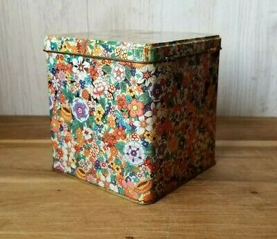 Vintage Daher Multi-Color Floral Tin Container with Hinged Lid - Made England