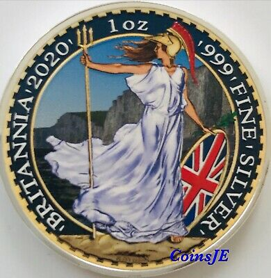 2020 UK 2 Pounds Britannia Coloured 1oz .999 Silver Coin