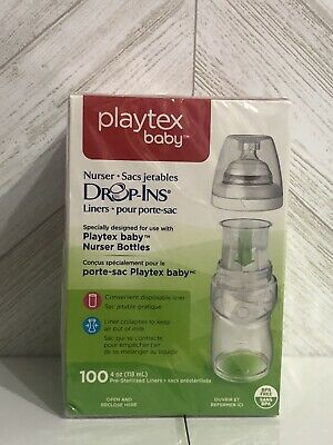New - Playtex Baby Nurser Drop-Ins 100 4oz Pre-Sterilized Diposable Liners