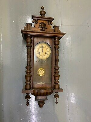 Antique German / Viennese Striking Vienna Long Case Wall Clock with Pendulum