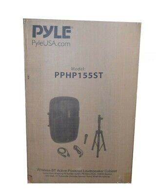 "Pyle PPHP155ST 15"" Powered DJ Bluetooth Speaker FM Radio USB/SD Fast Shipping"