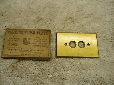 Vintage Perkins Brass Push Button Light Switch Cover Plate NOS