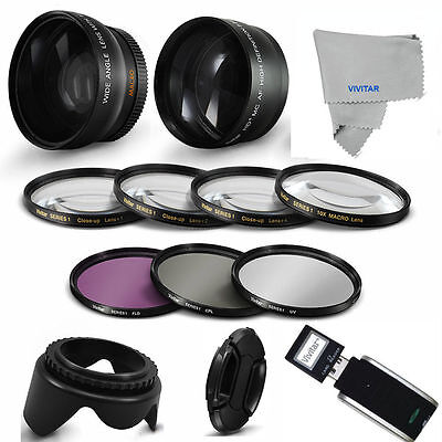 49Mm Hd Wide Angle + Telephoto + Macro + Filters Accessories For Canon Eos M200