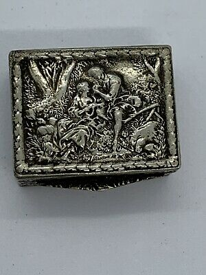 Vintage Hinged Embossed Courting Couple Metal Pill Snuff Box Stamped Italy