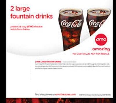 Two AMC Large Fountain Drink Beverage, EXP 06/30/20 (PURCHASE LIMIT 2)
