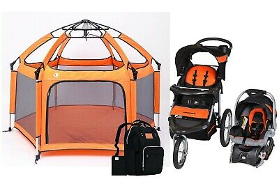 Baby Stroller Jogger Car Seat Travel System with Infant Toddler Play Pen Combo