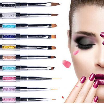 Nail Art Pen Brush UV Gel Acrylic Painting Drawing Liner 3D Polish wth LED light