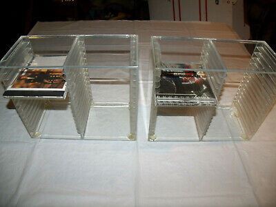 1990s Clear Plastic Acrylic CD Holder Lot of TWO (2) Holds 30 Each Storage Rack