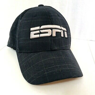 ESPN One Fit Top Of The World Ball Cap Hat Gray Embroidered TV Sports Network