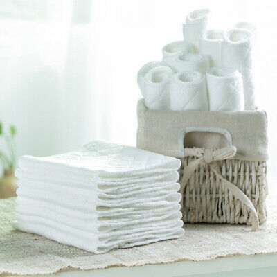 10pcs Cotton Blend Nappies Prefold Wrap Baby 3-Ply Cloth Diapers Pocket White