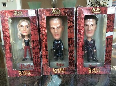 2004 Buffy The Vampire Bobble Heads Buffy Angel & Spike Mint Boxes w/Shelf Wear