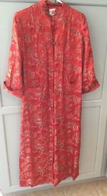 Vintage PEONY BRAND SHANGHAI CHINA  Red Embroidered Gown Size 32
