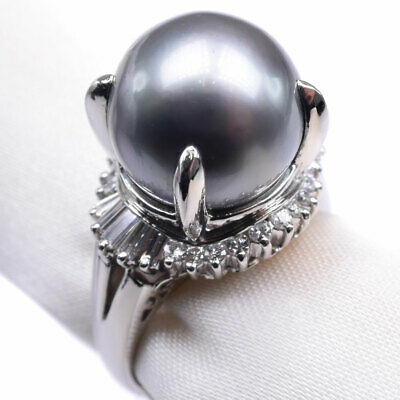AUTHENTIC  Diamond Pearl Ring Black pearl (Black butterfly Pearl)/Pt900Pla...