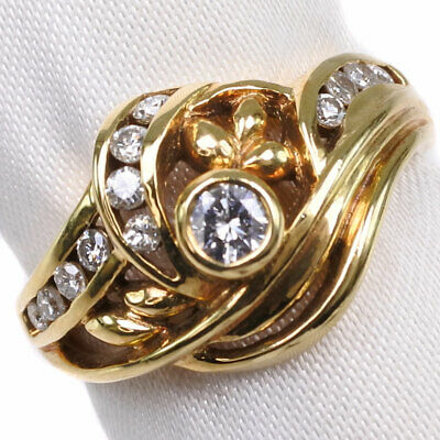 AUTHENTIC  Ring K18 Gold/diamond #13(JP Size) Women
