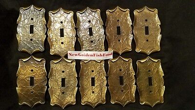 Lot of 10 Vintage Amerock Carriage House Brass Wall Switch Plate Single Toggle
