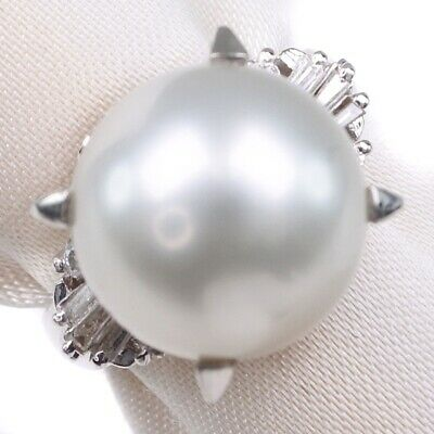 AUTHENTIC  diamond Pearl Ring Pearl/Pt900Platinum #6(JP Size) Women