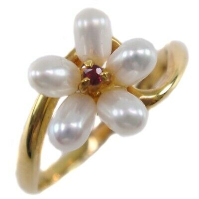AUTHENTIC  Pearl Ring K18 yellow gold/Pearl #12(JP Size) Women