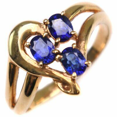 AUTHENTIC  Ring K18 yellow gold/sapphire #11(JP Size) Women