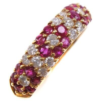 AUTHENTIC  Ring K18 yellow gold/Ruby/diamond #11(JP Size) Women