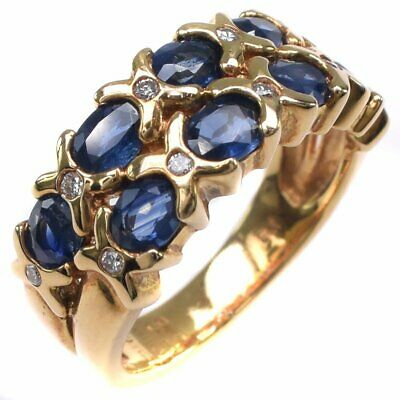 AUTHENTIC  Ring K18 yellow gold/sapphire/diamond #11(JP Size) Women