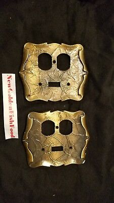 2x Vintage Amerock Decorative Metal Double Switch Plug Plate Covers Brass