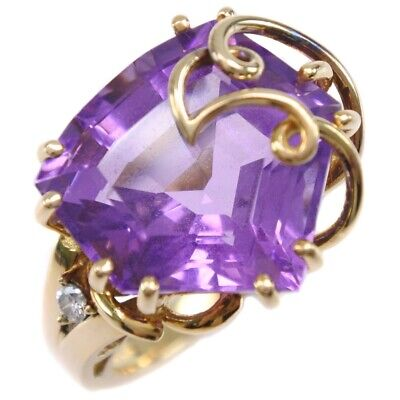 AUTHENTIC  Ring K18 yellow gold/amethyst/diamond #14(JP Size) Women