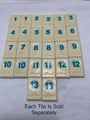 Rummikub BLUE NUMBER Replacement Tiles Cream Color PRICE PER TILE You Select