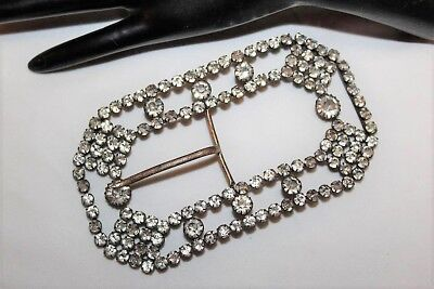"Antique Victorian Extra Large 4.5"" Paste Rhinestone Brass Waist Belt Buckle MS1"