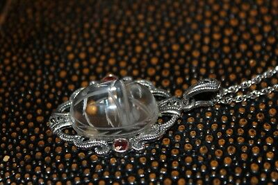 Atq Carved Scarab Rock Quartz Crystal Ruby  Marcasite Sterling Necklace Fnc1