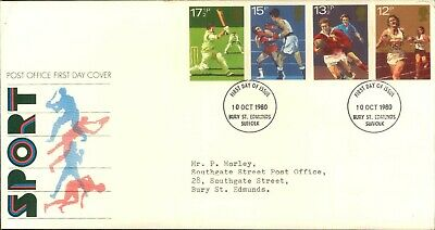 Fdc First Day Cover Issue Stamps Uk Royal Mail 1980 Sport 10 Oct Suffolk
