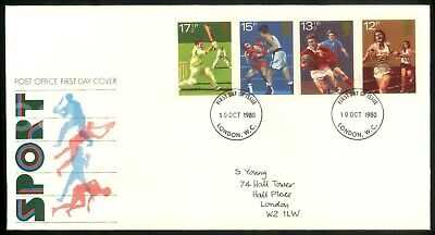 Fdc First Day Cover Issue Stamps Uk Royal Mail 1980 Sport Cricket Rugby Boxing